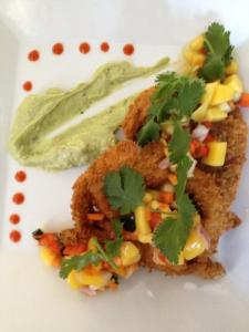 Panko-encrusted soft shell crab, mango salsa, avocado cream